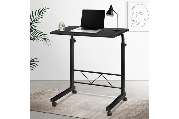 Artiss Mobile Laptop Desk Computer Table Stand Adjustable Sit Stand Desk Wooden Bed Bedside Portable Sofa Bedroom Study Office Desks w/ Wheels Black