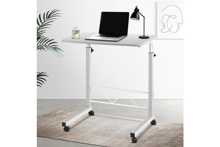 Artiss Mobile Laptop Desk Computer Table Stand Adjustable Sit Stand Desk Wooden Bed Bedside Portable Sofa Bedroom Study Office Desks w/ Wheels White