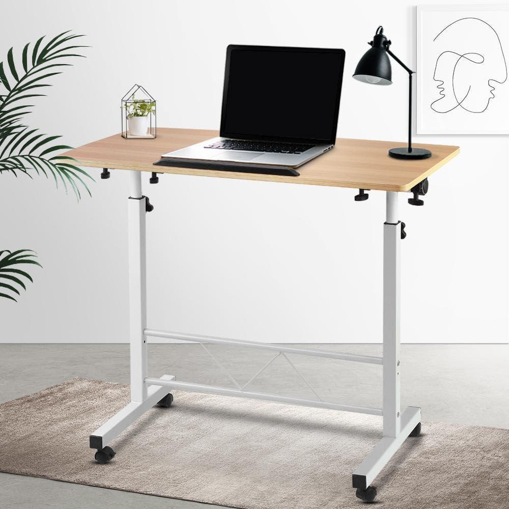 Artiss Mobile Laptop Desk Computer Table Stand Height Adjustable Sit Stand Wooden Desks Portable Study Desktop PC Tilt Bed Bedside Sofa Light Wood