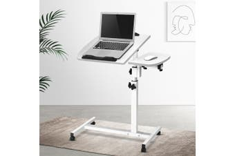 Artiss Mobile Laptop Desk Adjustable Height Notebook Computer iPad PC Stand Table White