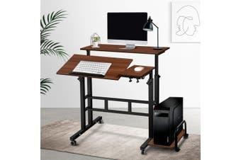 Artiss Mobile Laptop Desk Computer Table Adjustable Sit Stand Desks Wooden Bed Bedside Sofa Bedroom Study Office Desk Portable w/ Wheels Walnut