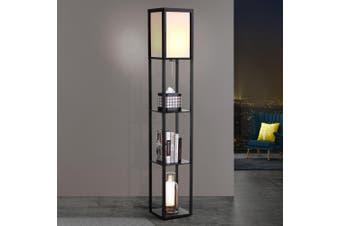 Artiss LED Floor Lamp Stand Vintage Mid Century With Shelves Wood Light Reading Bedroom Organiser
