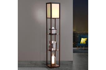 Artiss Floor Lamp Stand Vintage Mid Century Reading Light With Wood Shelf Storage Organizer Home