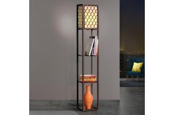 Artiss Floor Lamp Stand Modern Contemporary Wood Shelf Living Bedroom Lighting With Shelf Storage Organizer