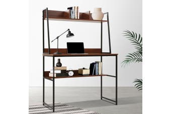 Artiss Office Computer Desk Study Table Workstation Bookshelf Storage Walnut