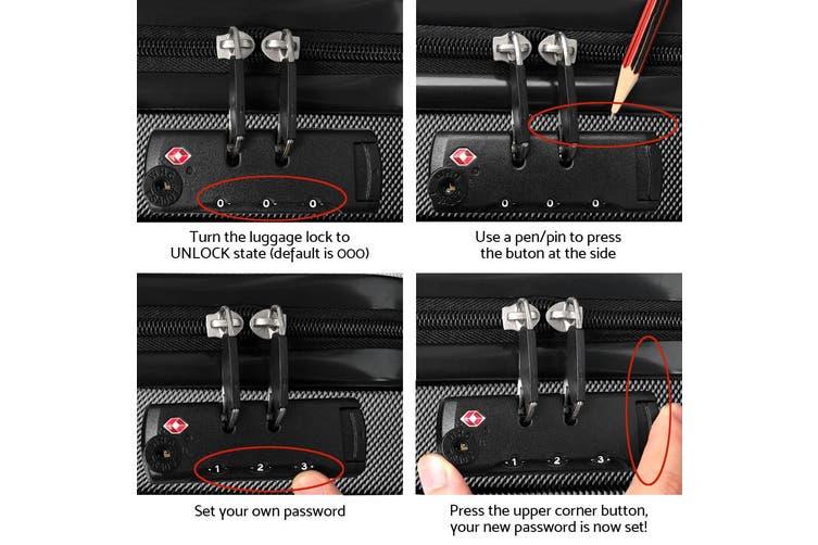 3pc Luggage Sets Suitcase Set TSA Black Hard Case Lightweight