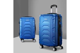 2pc Luggage Sets Suitcases Blue TSA Hard Case Lightweight Scale