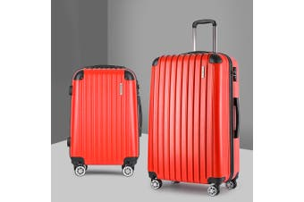 2pc Luggage Sets Suitcases Red TSA Travel Hard Case Lightweight
