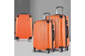 3pc Luggage Sets Suitcases Orange Trolley TSA Hard Case Lightweight