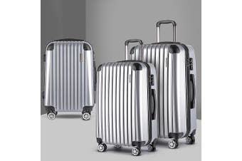 3pc Luggage Sets Suitcases Trolley TSA Silver Hard Case Lightweight