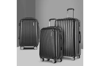 3pc Luggage Sets Suitcases Set Travel Hard Case Lightweight Black