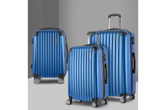 3pc Luggage Sets Suitcases Set Travel Hard Case Lightweight Blue