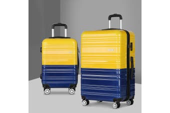 2pc Luggage Sets Yellow Suitcase Set TSA Hard Case Lightweight
