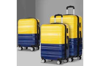 Wanderlite 3 Piece Luggage Trolley Set - Yellow and Purple
