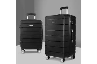 2PC PP Luggage Sets Suitcases TSA Travel Lightweight Hard Case BK