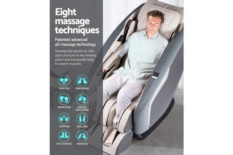 Livemor 3D Electric Massage Chair Shiatsu SL Track Full Body 58 Air Bags Navy Grey