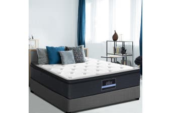 Giselle Bedding QUEEN Mattress Bed 7 Zone Euro Top Pocket Spring Firm Foam