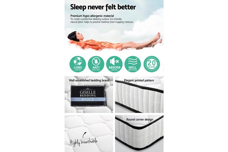 Giselle Bedding DOUBLE Size Bed Mattress Pocket Spring Tight Top Foam 21CM