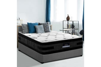 Giselle 36CM SINGLE Mattress Bed 7 Zone Euro Top Pocket Spring Medium Firm Foam