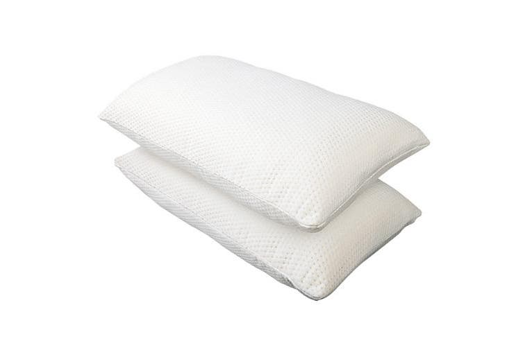 Giselle Bedding Memory Foam Pillows x2 Pillow Set Shredded Soft Contour Standard Size Twin Pack Hotel Bed