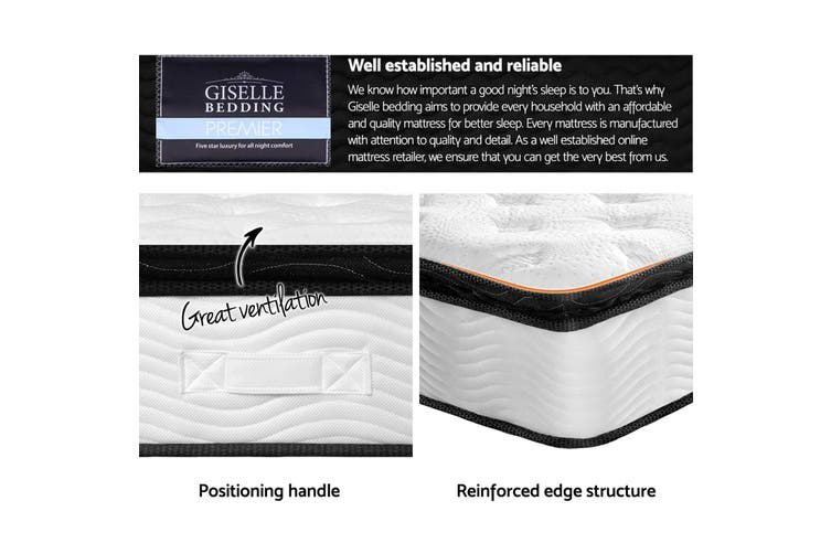 Giselle QUEEN Mattress Full Size Bed Pillow Top Firm Foam Pocket Spring 28CM