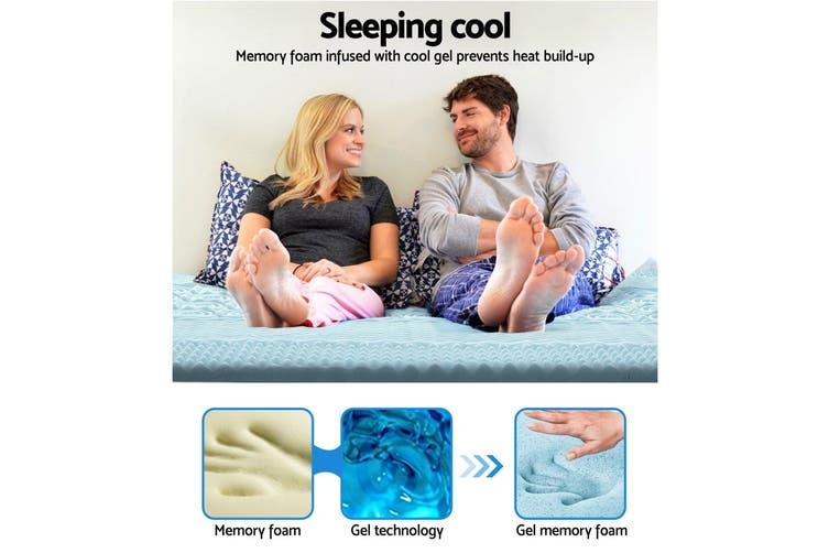 Giselle Memory Foam Mattress Topper Single Bed Gool Gel BAMBOO 8CM 7-Zone