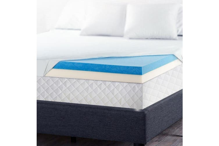 Giselle Queen Memory Foam Mattress Topper Cool Gel Dual Layer Bed Cover 8cm