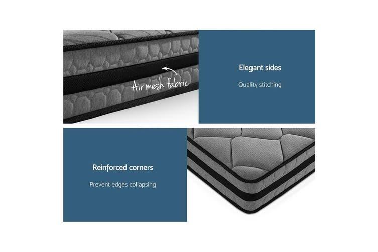 Giselle Bedding Queen Size Mattress Bed Medium Firm Foam Pocket Spring 22cm Grey