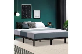 Artiss QUEEN Metal Bed Base Frame Timber Mattress Foundation Platform Black