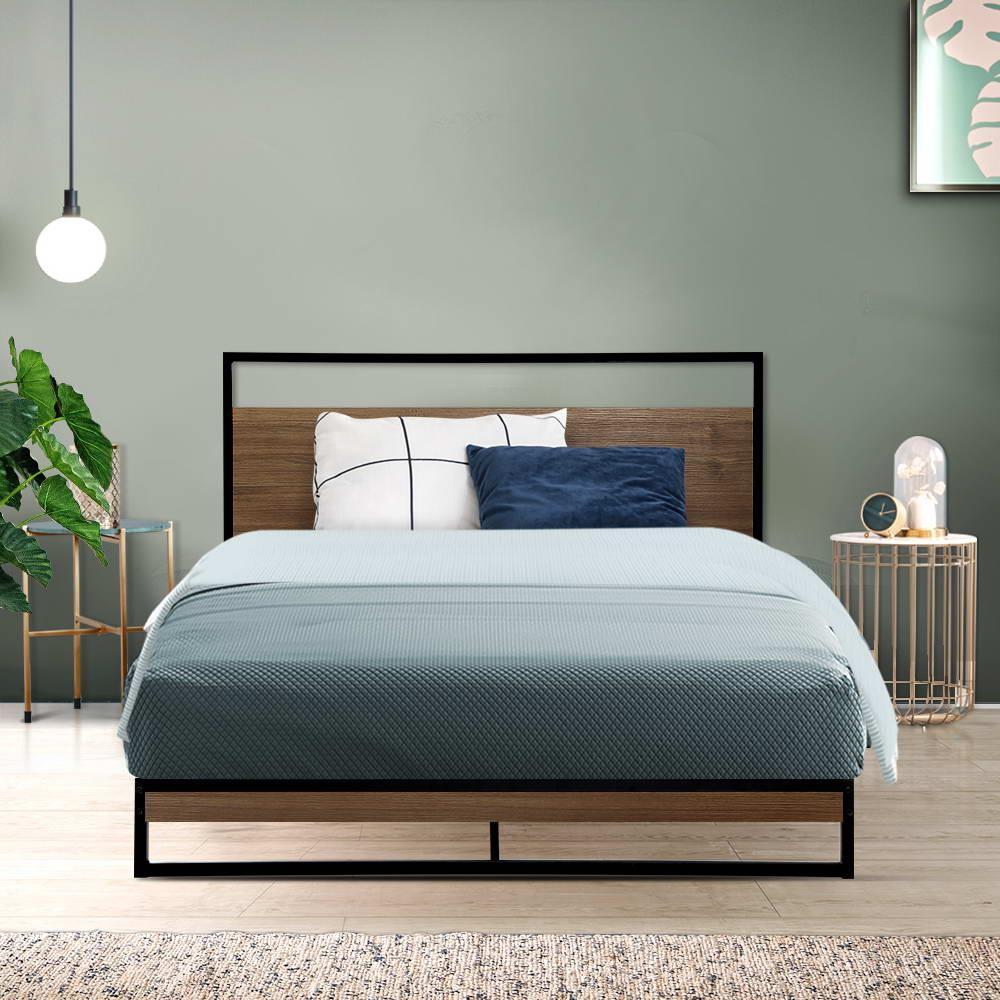 Metal Bed Frame Dane Bed Base King Single Black Wood Matt Blatt