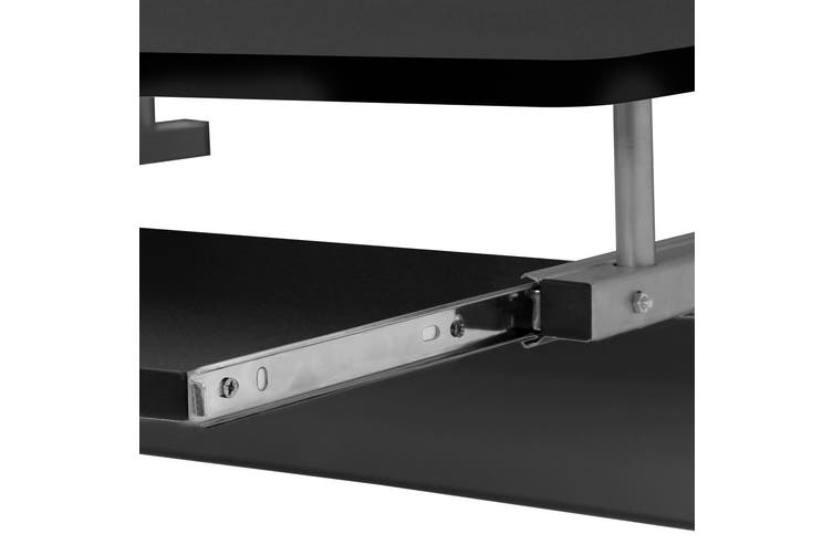 Artiss Black Office Computer Desk Metal Student Table Pull-Out Tray Mobile Home