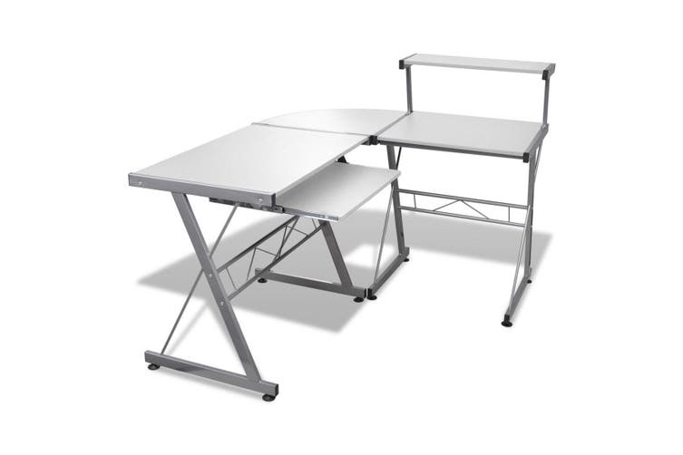 Artiss Office Computer Desk Corner Table Metal Pull-Out Keyboard Tray Top White