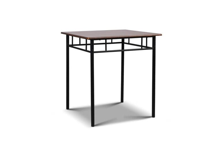 Artiss Metal Table and Chairs - Walnut and Black