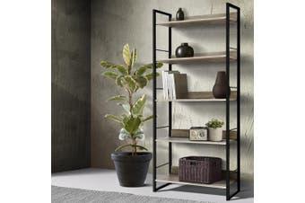 Artiss Bookshelf Wooden Display Shelves Bookcase Shelf Storage Metal Wall Black