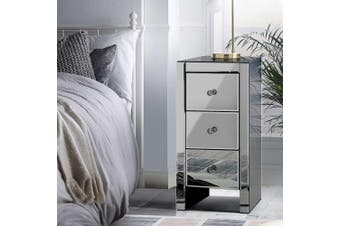 Mirrored Furniture Bedside Tables Table Drawers Chest Nightstand