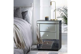 Mirrored Bedside Tables Table Drawers Chest Nightstand Furniture