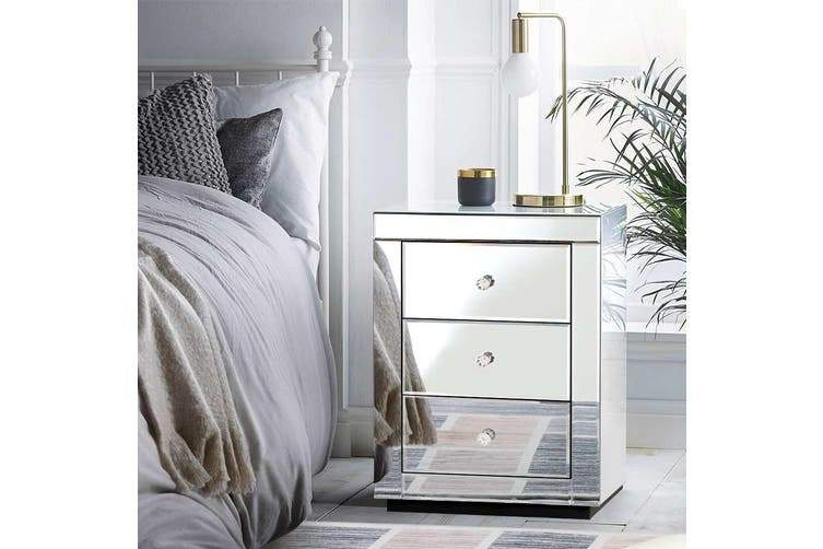 Artiss Bedside Table Mirrored Glass, Silver Mirror Side Table