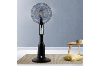 Devanti Mist Fan Portable Pedestal Fans 5 Blades Cool Water Spray Timer Remote