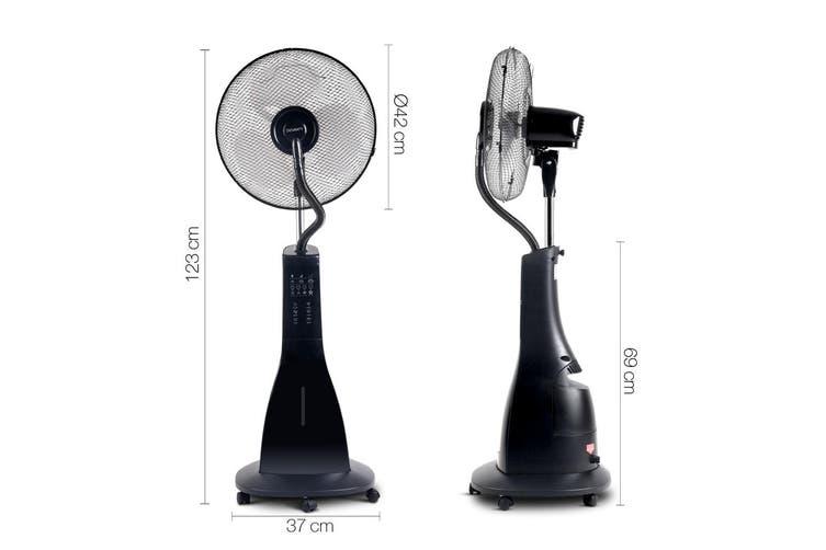 Devanti Portable Misting Fan Mist Fans Pedestal Fan Remote Water Cool Timer 40cm