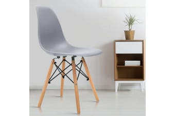 Artiss Retro Replica Eames Dining Chairs DSW Chair Kitchen Cafe Wood Leg Grey x4