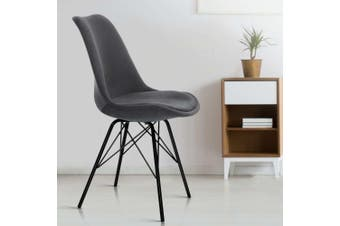 Artiss Eames Dining Chairs Kitchen Chair DSW Velvet Fabric Padded Grey Cafe x2