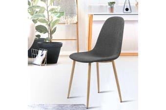 Artiss Dining Chairs Armchair Fabric Seat Kitchen Cafe Modern Iron Dark Grey x4