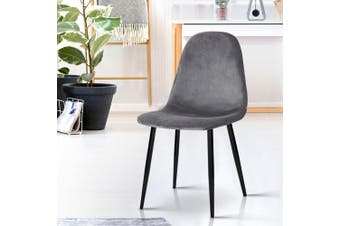 Artiss Dining Chairs Armchair Velvet Seat Cafe Modern Iron Legs Dark Grey x4