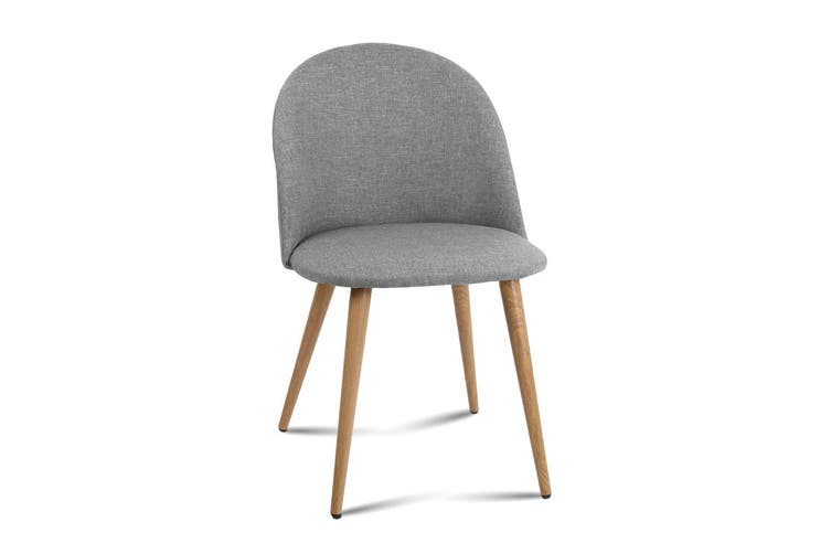 Artiss Dining Chairs Armchair Seat Kitchen Cafe Fabric Modern Iron Light Grey x2