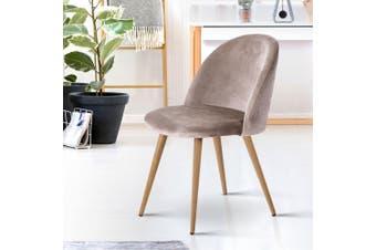 Artiss Dining Chairs Armchair Velvet Seat Kitchen Cafe Furniture Iron Grey x2