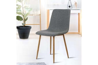 Artiss Dining Chairs Modern Armchair Fabric Seat Cafe Kitchen Iron Dark Grey x4