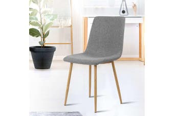 Artiss Dining Chairs Modern Armchair Fabric Seat Cafe Kitchen Iron Legs Grey x4