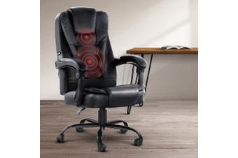 Artiss Massage Office Chair Gaming PU Leather Recliner Computer Chairs Black