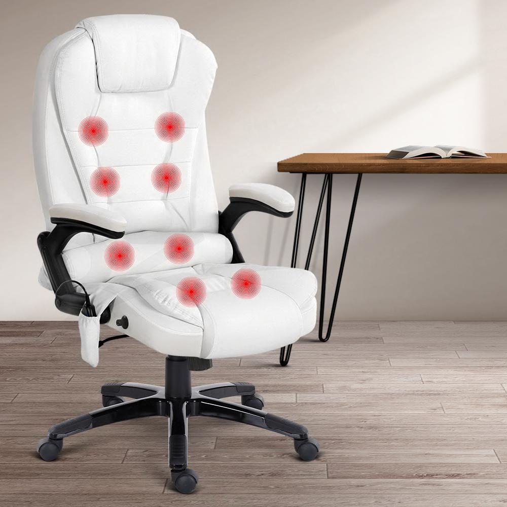 Image of: Artiss 8 Point Massage Office Chair Computer Desk Chairs Heated Recliner White Matt Blatt