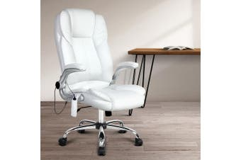 Artiss 8 Point Executive Massage Office Chair Computer Chairs Armrests White